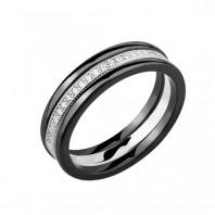 Dwa czarne pierścionki ceramiczne i pierścionek srebrny z cyrkoniami r.14