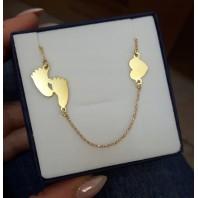 Złoty naszyjnik STÓPKI SERCE z grawerem GRATIS srebro pozłacane