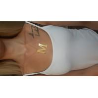 Złoty Naszyjnik łańcuszek literka M srebro 925 pozłacane