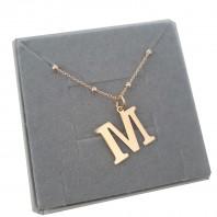 Naszyjnik łańcuszek kulkowy literka z literką M srebro 925 pozłacane