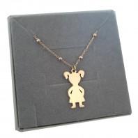 Naszyjnik łańcuszek z dziewczynką córeczką srebro 925 pozłacane GRAWER gratis