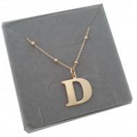 Naszyjnik łańcuszek kulkowy literka z literką D srebro 925 pozłacane