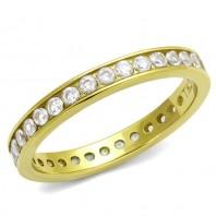Złota Obrączka pierścionek cyrkonie 316L GRAWER