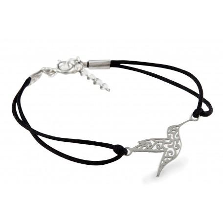 Czarna bransoletka sznurkowa - KOLIBER - srebro