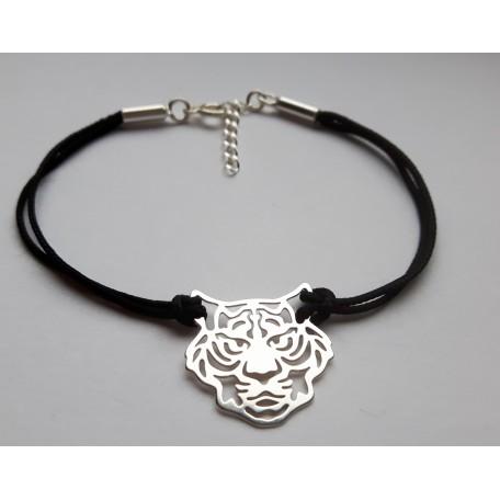 Czarna bransoletka sznurkowa - TYGRYS - srebro