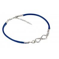 NIEBIESKA bransoletka sznurkowa - INFINITY- srebro