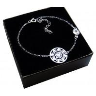 Srebrna bransoletka na nogę- AŻUR + Kryształ Crystal