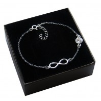 Srebrna bransoletka na nogę - INFINITY + Kryształ Crystal