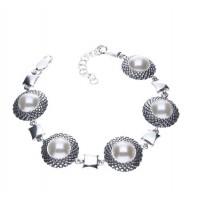 EKSLUZYWNA srebrna bransoleta z PERŁAMI
