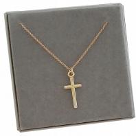 Złoty łańcuszek z krzyżykiem srebro 45 cm grawer