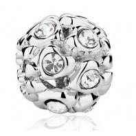 Koralik CHARMS BEADS - Serduszka z kryształkami Crystal