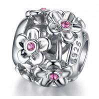 Koralik CHARMS BEADS - Kwiatki z różową cyrkonią