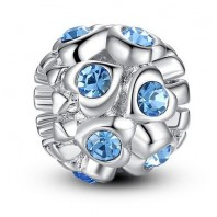 Koralik CHARMS BEADS - Serduszka z kryształkami Blue