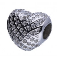 Koralik CHARMS BEADS - Serce z kryształkami
