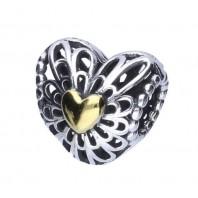 Koralik CHARMS BEADS - Serce ażurowe ze złotym serduszkiem