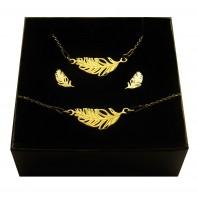 Komplet biżuterii CELEBRYTKA - złote PIÓRKO