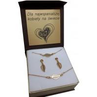 Komplet biżuterii CELEBRYTKA - złote PIÓRO