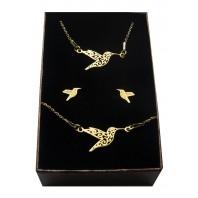Złoty komplet biżuterii CELEBRYTKA - KOLIBER AŻUR