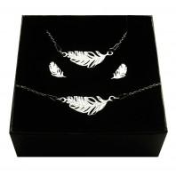 Srebrny komplet biżuterii CELEBRYTKA - PIÓRKO
