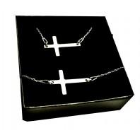 Srebrny komplet biżuterii CELEBRYTKA - KRZYŻ