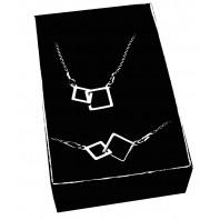 Srebrny komplet biżuterii CELEBRYTKA - KWADRATY