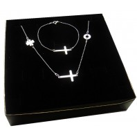 Srebrny komplet biżuterii CELEBRYTKA - KRZYŻ - 3 zawieszki