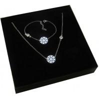 Srebrny komplet biżuterii CELEBRYTKA - AŻUR + Kryształek