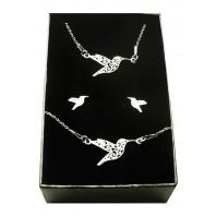 Srebrny komplet biżuterii CELEBRYTKA - KOLIBER ORIGAMI